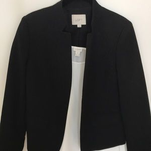 Black Loft blazer with cut out standing collar